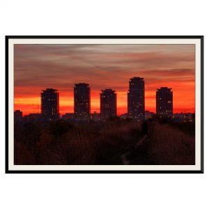 Fotografie cu peisaj urban la apus