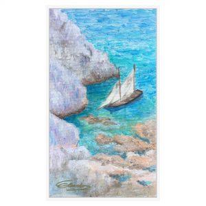 Lucrare pictata manual - Barca in golf - Gabriela DORNEA