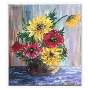 Tablou pe panza - Vaza cu floarea soarelui si maci - Gabriela DORNEA